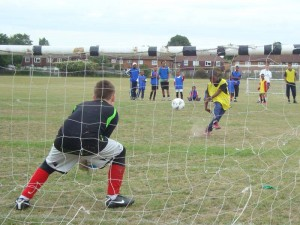 Penalty shoot out during a holiday programme