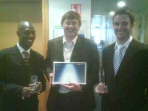 Receiving an award during my professional career